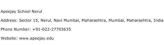 Apeejay School Nerul Address Contact Number