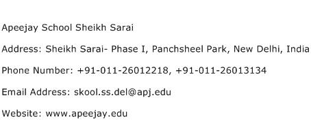 Apeejay School Sheikh Sarai Address Contact Number