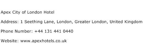 Apex City of London Hotel Address Contact Number