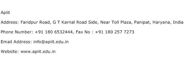 Apiit Address Contact Number