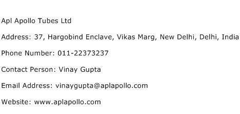 Apl Apollo Tubes Ltd Address Contact Number
