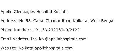 Apollo Gleneagles Hospital Kolkata Address Contact Number