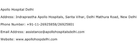 Apollo Hospital Delhi Address Contact Number