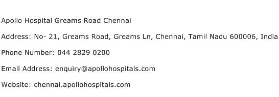 Apollo Hospital Greams Road Chennai Address Contact Number