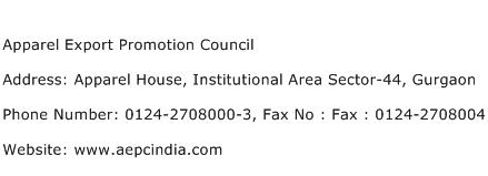 Apparel Export Promotion Council Address Contact Number