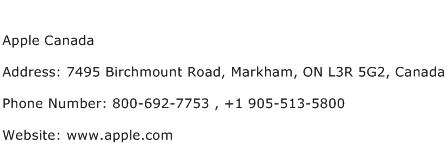 Apple Canada Address Contact Number