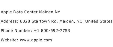 Apple Data Center Maiden Nc Address Contact Number