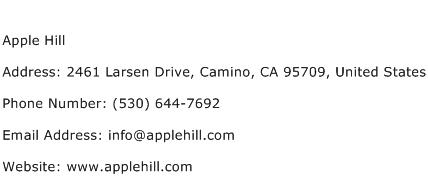 Apple Hill Address Contact Number