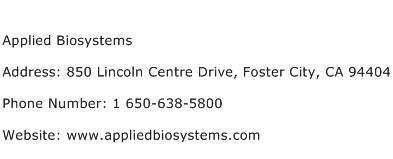 Applied Biosystems Address Contact Number
