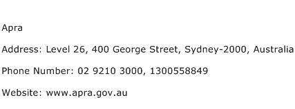 Apra Address Contact Number