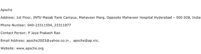 Apsche Address Contact Number