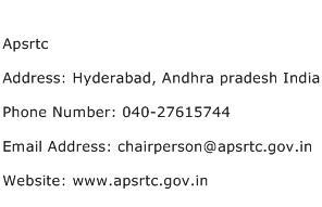 Apsrtc Address Contact Number
