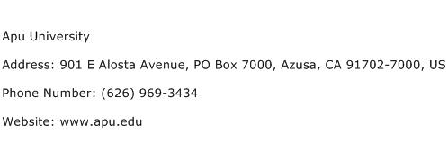 Apu University Address Contact Number