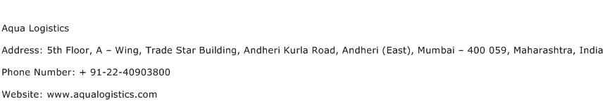 Aqua Logistics Address Contact Number