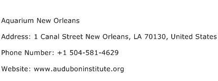Aquarium New Orleans Address Contact Number
