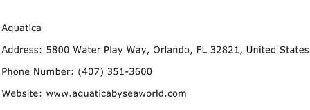 Aquatica Address Contact Number