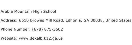 Arabia Mountain High School Address Contact Number