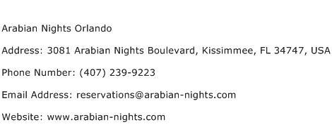 Arabian Nights Orlando Address Contact Number