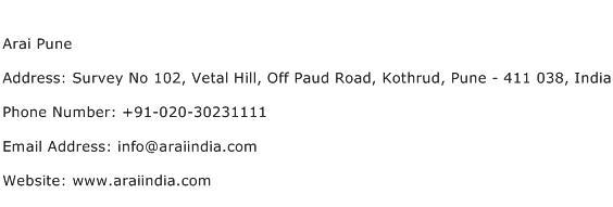 Arai Pune Address Contact Number