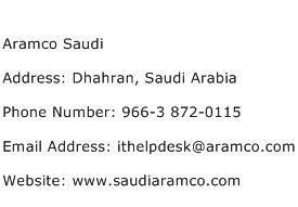 Aramco Saudi Address Contact Number