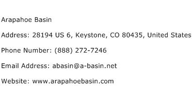 Arapahoe Basin Address Contact Number