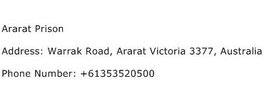 Ararat Prison Address Contact Number