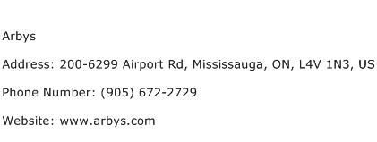 Arbys Address Contact Number