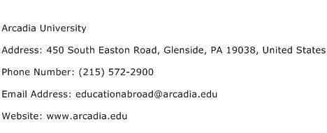 Arcadia University Address Contact Number