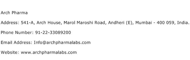 Arch Pharma Address Contact Number