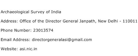 Archaeological Survey of India Address Contact Number