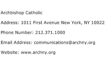 Archbishop Catholic Address Contact Number