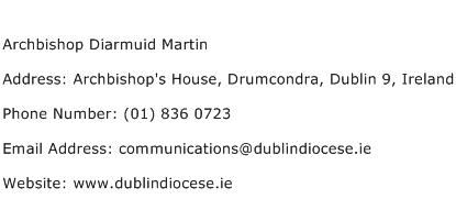 Archbishop Diarmuid Martin Address Contact Number