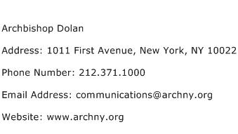 Archbishop Dolan Address Contact Number