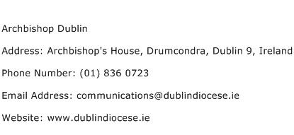 Archbishop Dublin Address Contact Number