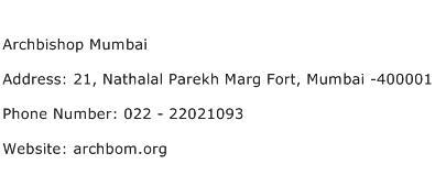 Archbishop Mumbai Address Contact Number