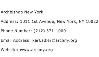Archbishop New York Address Contact Number