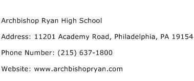 Archbishop Ryan High School Address Contact Number