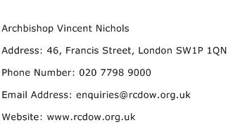 Archbishop Vincent Nichols Address Contact Number