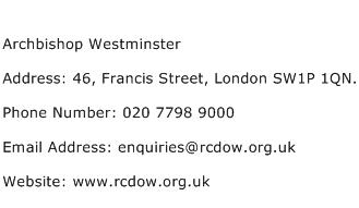 Archbishop Westminster Address Contact Number