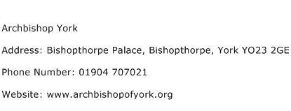 Archbishop York Address Contact Number