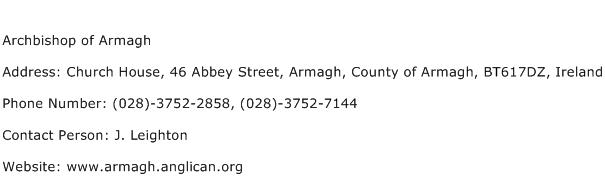 Archbishop of Armagh Address Contact Number