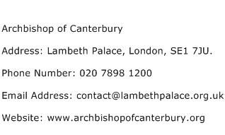 Archbishop of Canterbury Address Contact Number