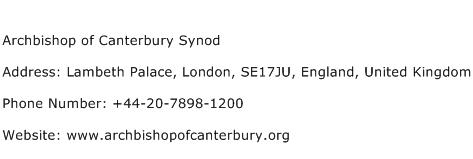Archbishop of Canterbury Synod Address Contact Number