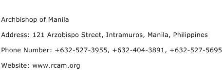 Archbishop of Manila Address Contact Number