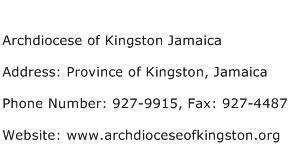 Archdiocese of Kingston Jamaica Address Contact Number