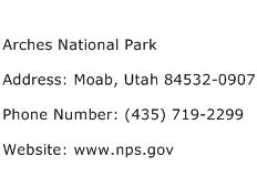 Arches National Park Address Contact Number