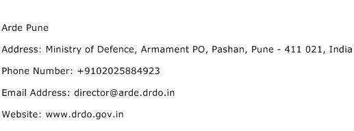 Arde Pune Address Contact Number