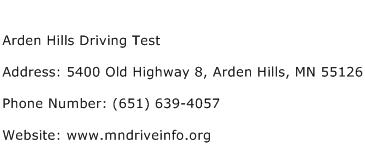 Arden Hills Driving Test Address Contact Number
