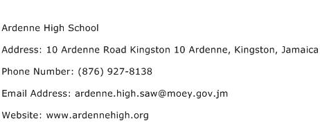 Ardenne High School Address Contact Number