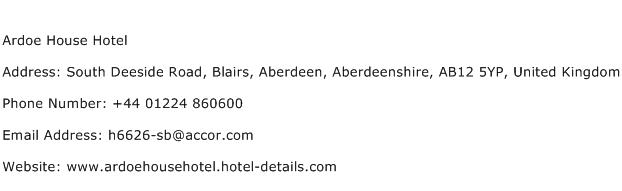 Ardoe House Hotel Address Contact Number